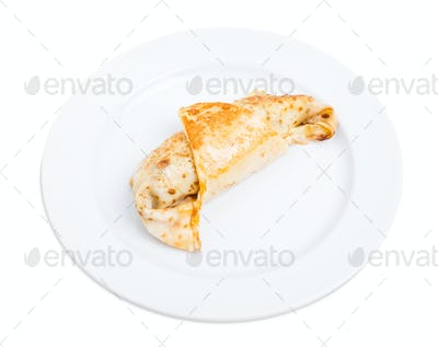 Russian pancake with chicken fillet.