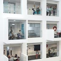 University atrium, rooms and balconies, seen from mezzanine