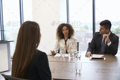 Female Candidate Being Interviewed For Position In Office