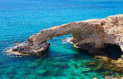 Natural rock arch of Ayia Napa on Cyprus