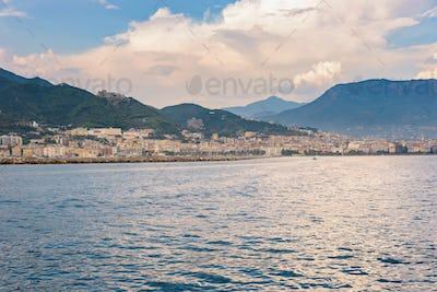 Salerno city at sunset