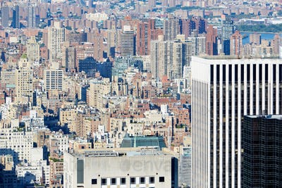 New York City midtown and uptown skyline aerial view