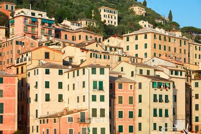 Camogli typical Italian village with colorful houses, Liguria