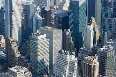 New York City Manhattan aerial view with skyscrapers in a sunny day