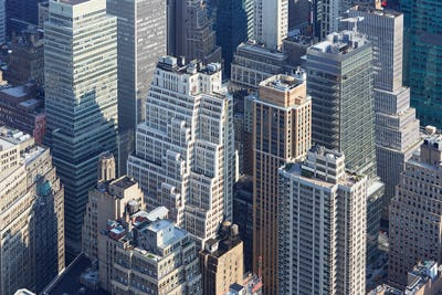 New York City skyline aerial view with modern skyscrapers