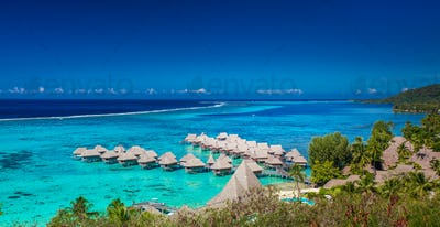 Overwater bungalows of Sofitel Hotel, Moorea, French Polynesia