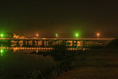 Night view of road bridge over Orange River at Upington