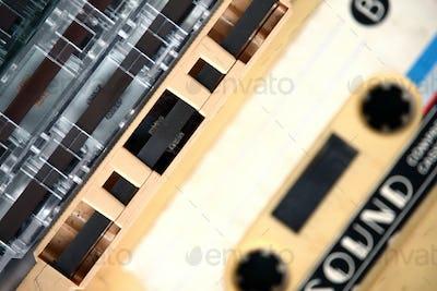 Closeup of audio cassettes