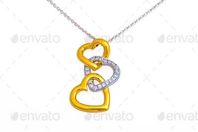 Gold heart pendant, necklace