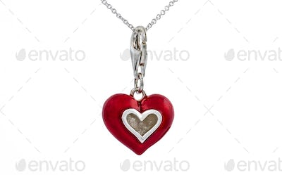 Red  heart pendant, necklace