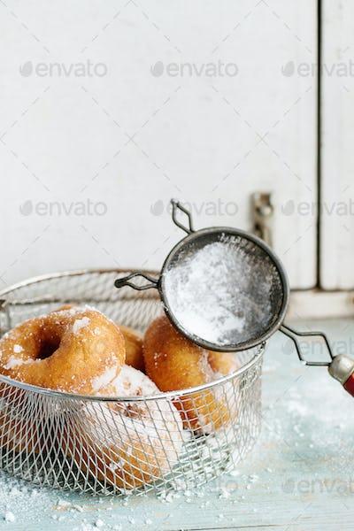 Homemade donuts with sugar powder