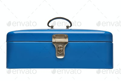 Old and heavy vintage blue metal chest
