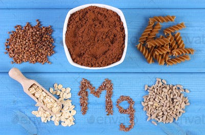 Natural ingredients containing magnesium and dietary fiber, healthy nutrition