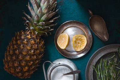Ingredients for making jam from pineapple