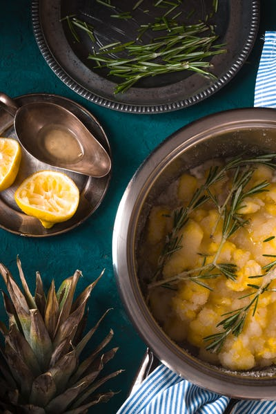 Prepare jam from pineapple with rosemary