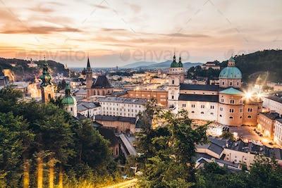 Panoramic view of beautiful Salzburg in Austria
