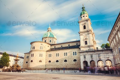 Cathedral Dom in Salzburg Austria, long exposure
