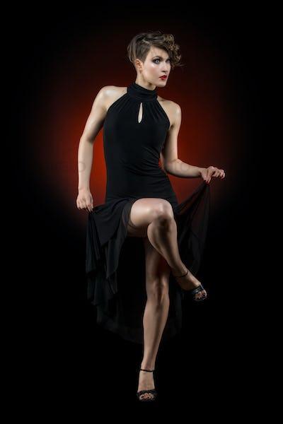 girl dancer in tango dress