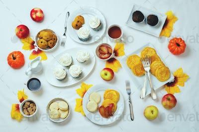 Autumn sweets and baking celebration table setting