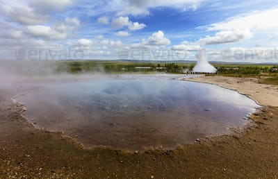 Large eruption geyser and hot spring in Iceland