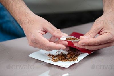 rolling a cigarette