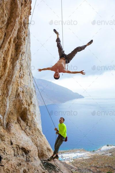Rock climbers fooling around