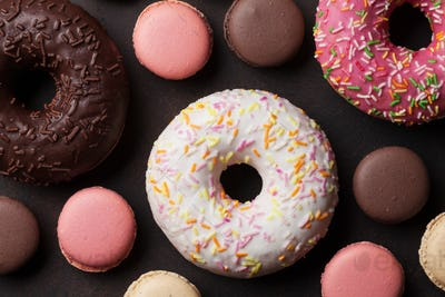 Colorful donuts and macaroons
