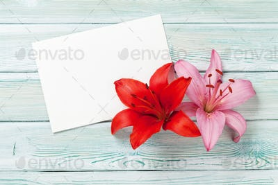 Colorful lily flowers and greeting card