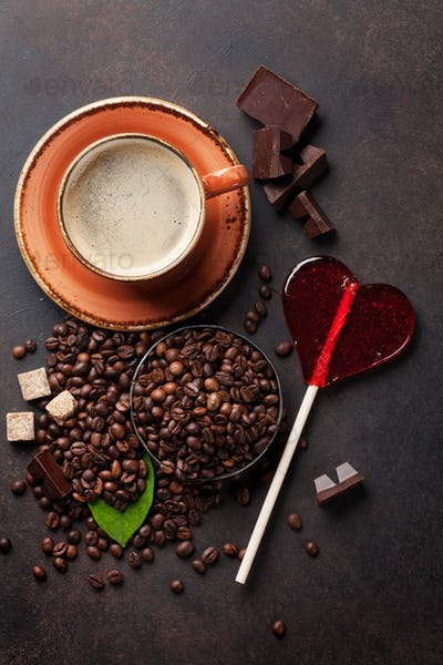 Coffee cup, beans, chocolate