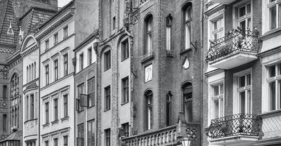 Buildings facades in Torun old town, Poland