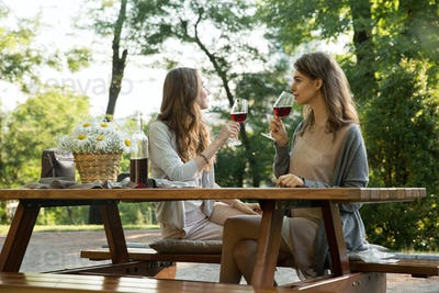 Amazing young two women sitting outdoors in park drinking wine