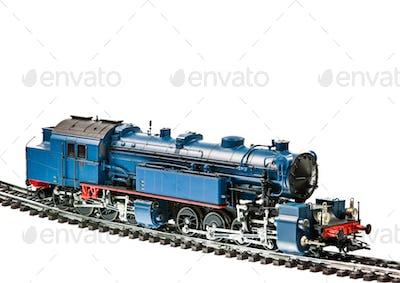 Toy train with a steam engine locomotive
