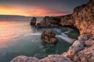 Sea rocks at sunrise