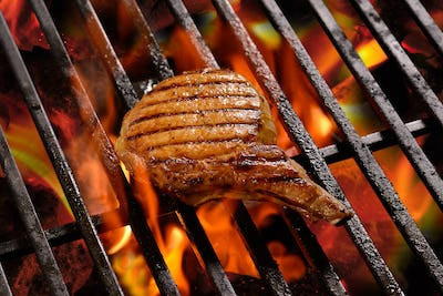 Grilled meat /steak on the flaming grill