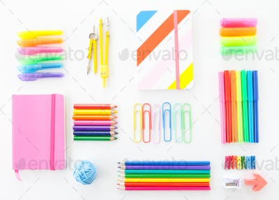 Colorful office supplies