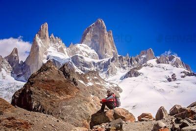 Trekker at the base of Mount Fitz Roy