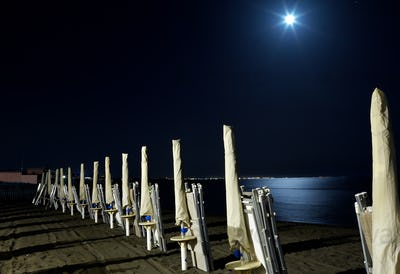 Beach Under Full Moon