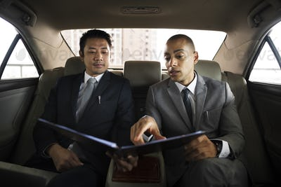 Business Men Talk Report Inside Car