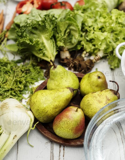Closeup of pears with fresh organic vegetable