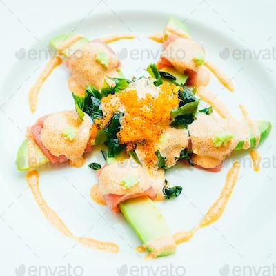 Tuna roll with avocado salad
