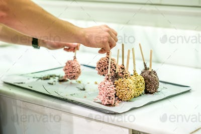 Donuts in assortment at confectionery