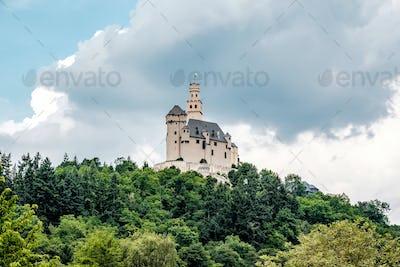 Marksburg Castle at Rhine Valley near Braubach, Germany.
