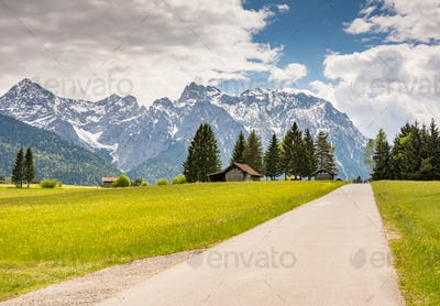 Country road in the Karwendel Mountains