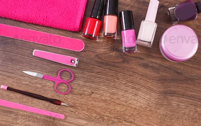 Cosmetics and accessories for manicure or pedicure