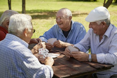 Active Seniors Group Of Old Friends Playing Cards At Park