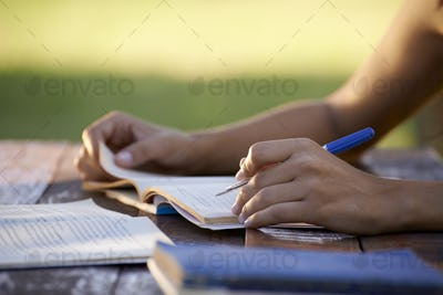 Young People And Education Woman Studying For University Test