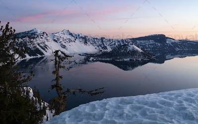 Winter Lanscape Crater Lake Wizard Island Llao Rock