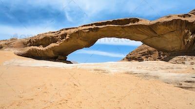 view of bridge sandstone rock in Wadi Rum desert