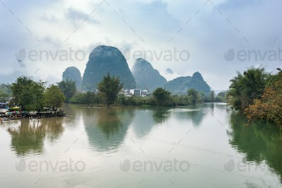 surface of rivers and karst peaks in Yangshuo