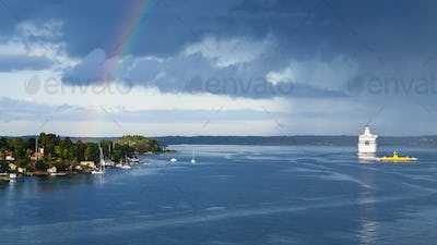 panorama with white cruise liner in Baltic Sea
